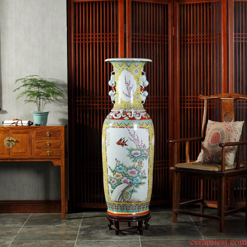 Jingdezhen ceramics powder enamel archaize ears of large vase gift collection living room TV cabinet decorative furnishing articles