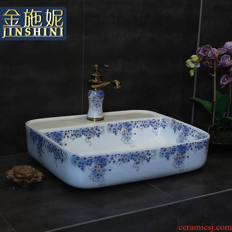 Gold cellnique green decorative pattern ceramic lavatory the basin that wash a face on the new Chinese style retro basin sink basin