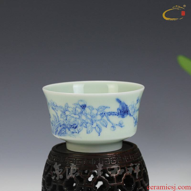 Blue and white painting of flowers and tea cups and auspicious manual pull embryo jingdezhen hand - made sample tea cup kung fu tea bowl cups