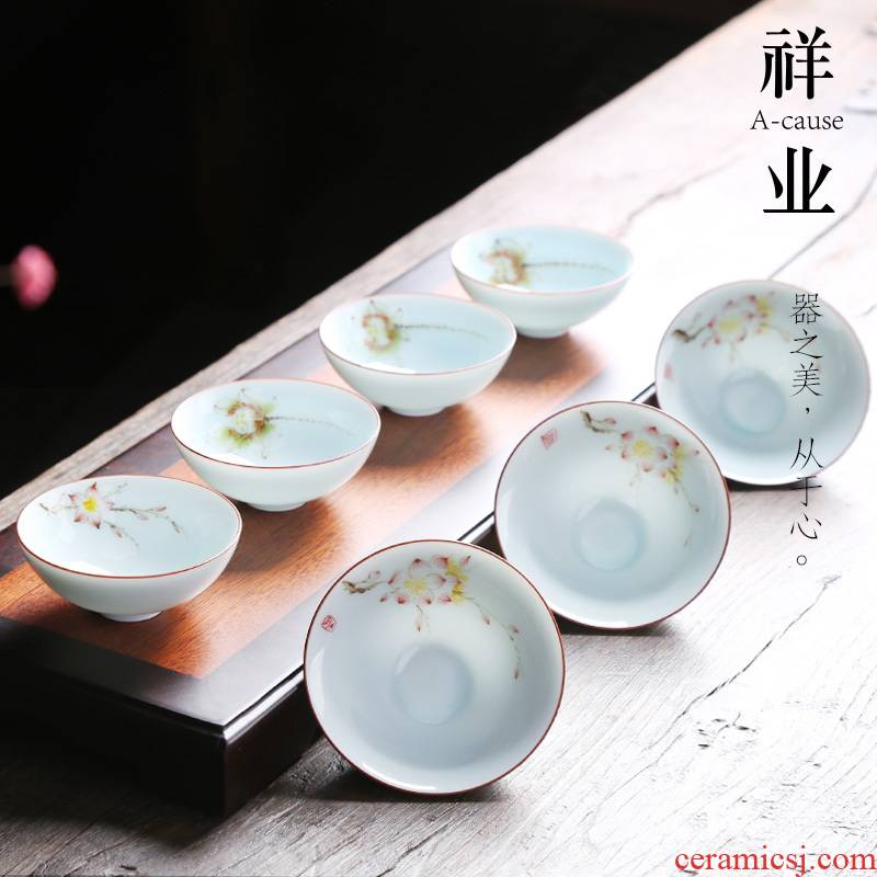 Auspicious industry hand - made ceramic tea cup sample tea cup kung fu tea set individual cup of blue and white porcelain hat to single CPU