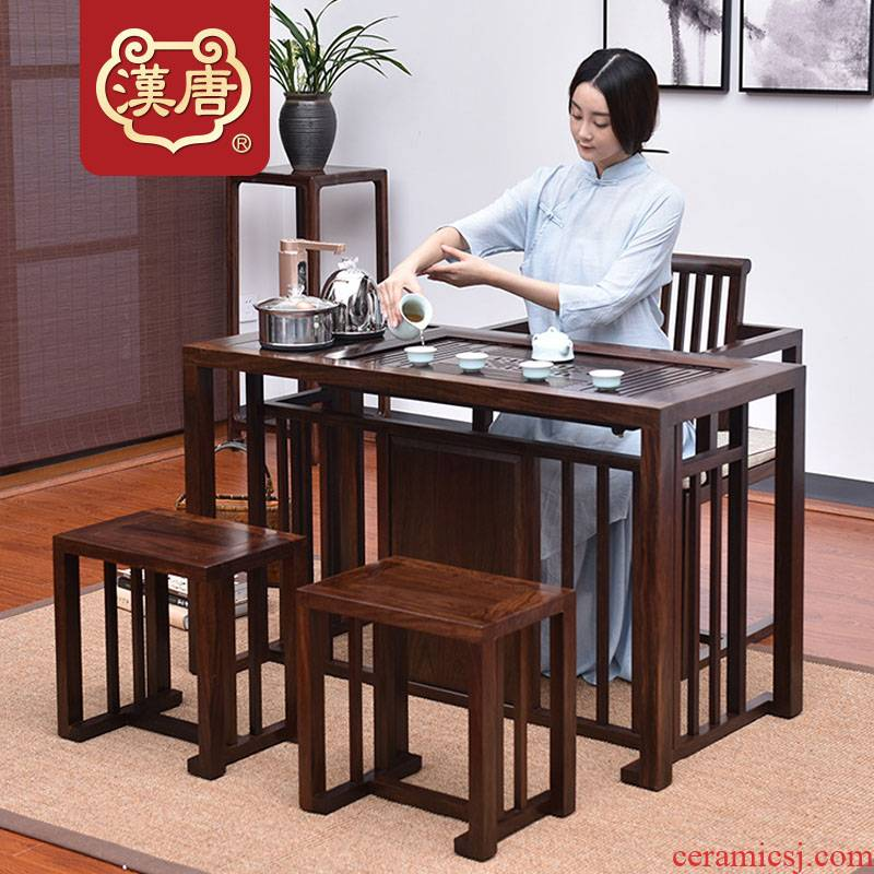 Han solid wood tea tray tea set suits for Chinese tea tables and chairs combination small black rosewood tea sets of kung fu tea table