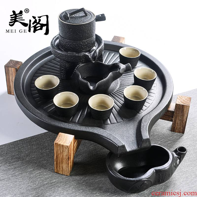Beauty cabinet Chinese stone mill contracted household automatic tea set ceramic cups kung fu tea tray tea tea tea taking