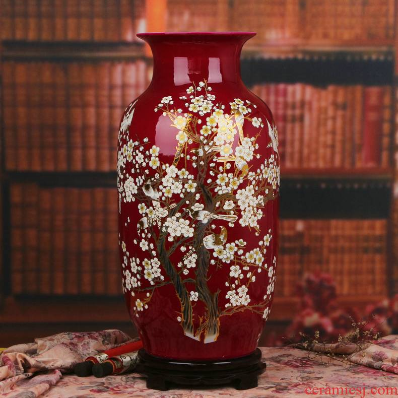 Jingdezhen ceramics glaze crystal 12 xi mei red east melon of large vases, furnishing articles of Chinese style household decoration