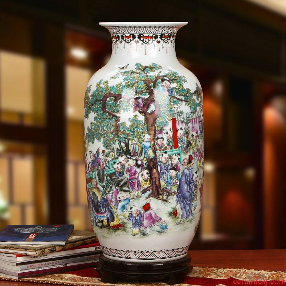 Archaize of jingdezhen ceramics powder enamel the ancient philosophers figure idea gourd of large vases, modern Chinese style household furnishing articles