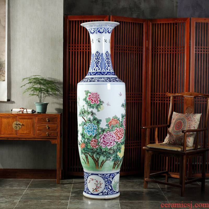 Jingdezhen blue and white bag in the mail to the ground 1.8 meters big ceramics vase hotel lobby hall opening gifts furnishing articles