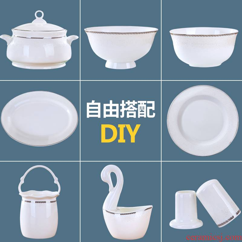 Ceramic dish bowl dish dish fuscescens dish soup bowl rainbow such use ipads plate soup pot contracted household dishes combine customize logo