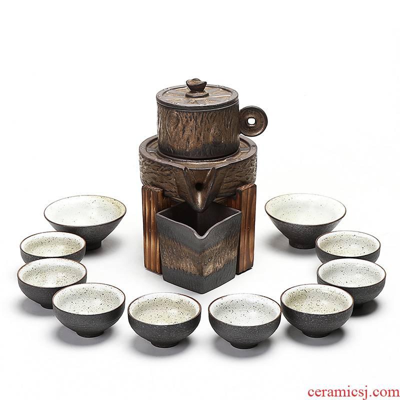 Ding heng vintage Japanese set automatically make tea tea set kung fu tea set lazy of coarse pottery teapot teacup