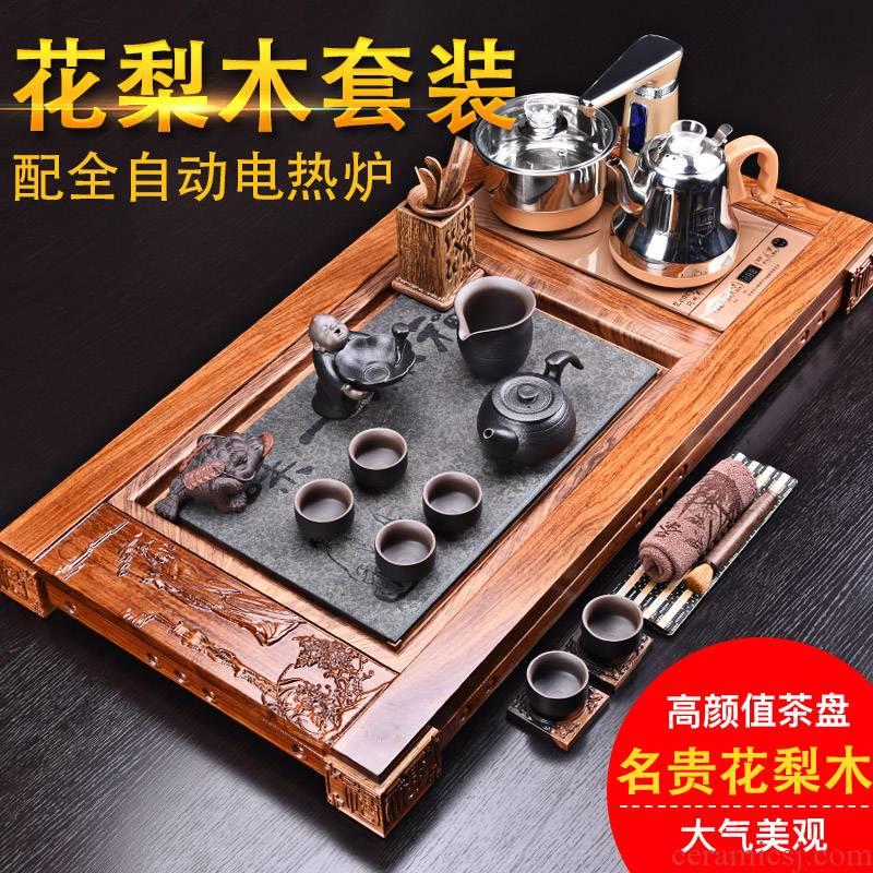 HaoFeng hua limu tea tray was kung fu tea set of a complete set of ceramic tea set automatic four one household electric heating furnace