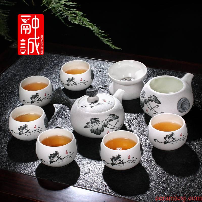 Melts if snow glaze ceramic kung fu tea tea set suit suits for the whole set of tea cups gift porcelain teapot