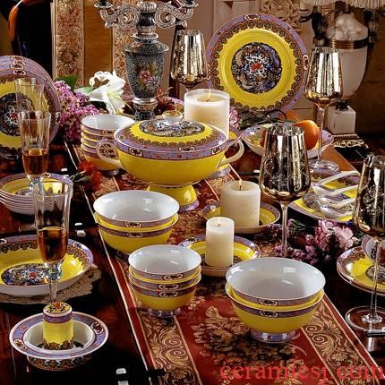 Red xin jingdezhen enamel tableware pastel colored suit 60 head suit European ceramics tableware dishes