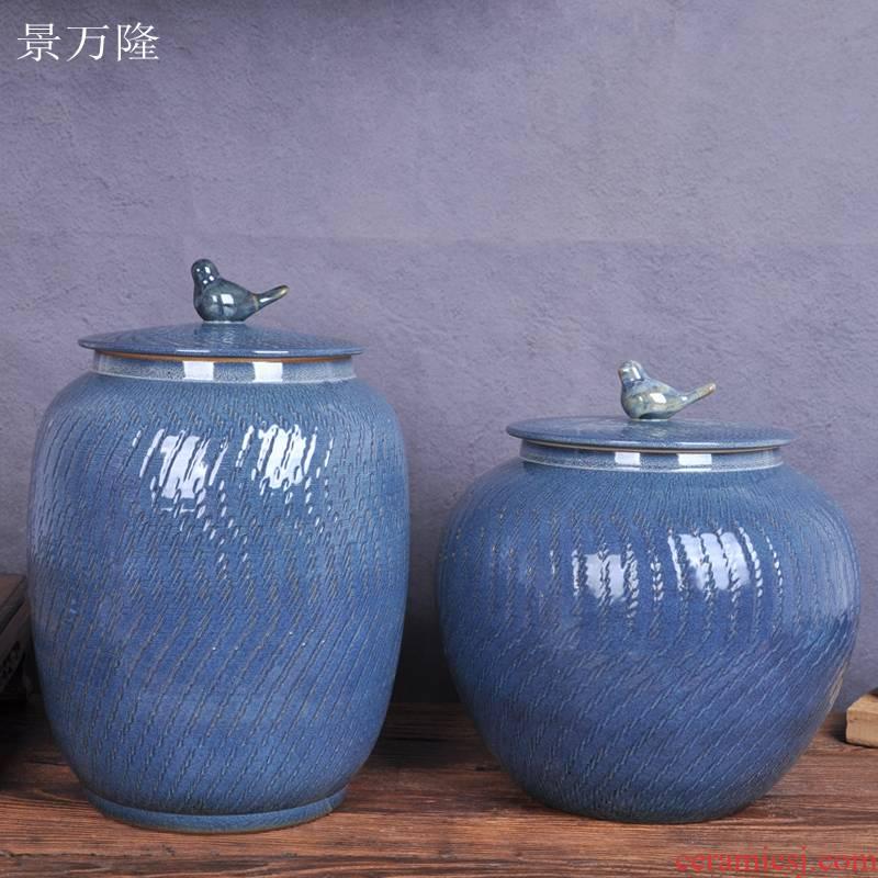 Jingdezhen ceramic barrel throwing 20 jins variable glaze 30 kg of grain storage tank ricer box meter box meter box