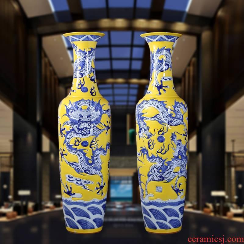 Jingdezhen ceramic hand - carved dragons landing big vase Chinese dragon ceramic vase sitting room hotel furnishing articles