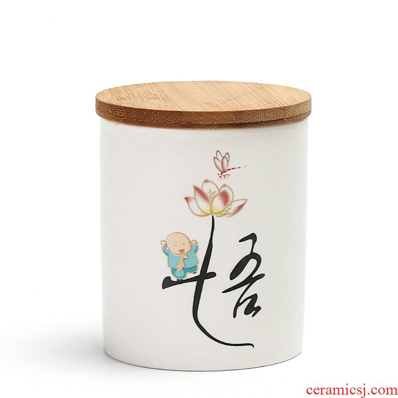 Really sheng zen inferior smooth fat white bamboo plug-in ceramics caddy fixings storage sealed pot lotus rhyme tea boxes