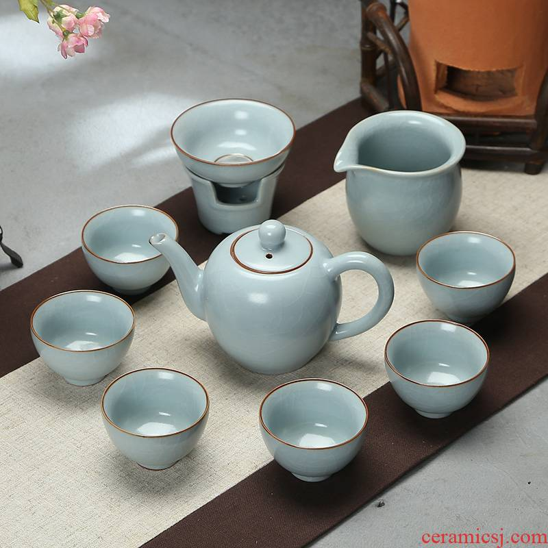 Ding heng, a complete set of kung fu tea set open piece of ice to crack your up ceramic teapot tea cup set gift box