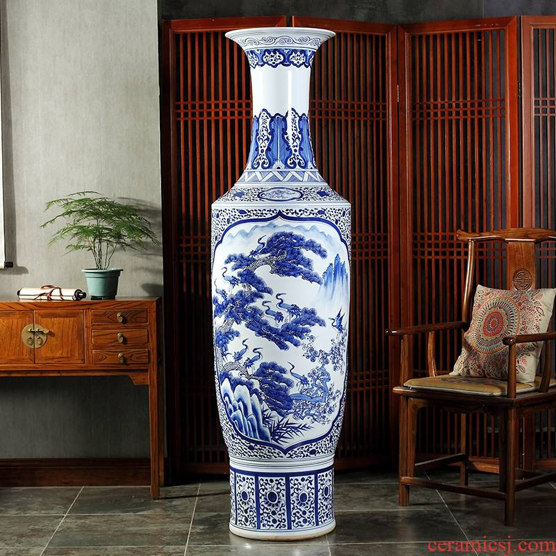 Jingdezhen ceramics to the heavy hand of the big yards of large blue and white porcelain vase decoration to the hotel opening gifts furnishing articles