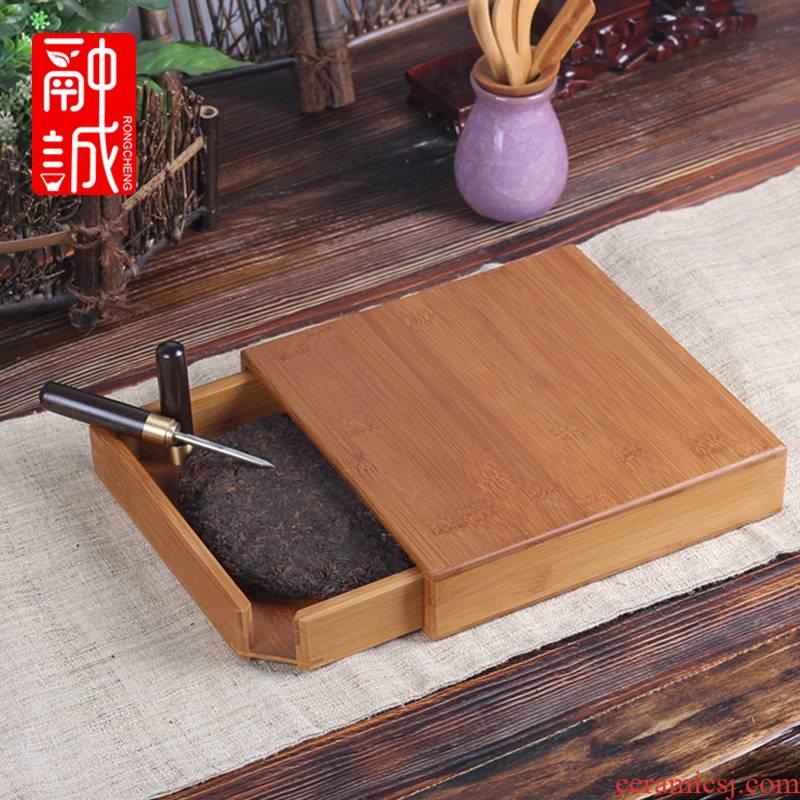 Melts if tea box knife drawer bamboo tea with tea ChaZhen tea tray tea cake tea accessories shelf points