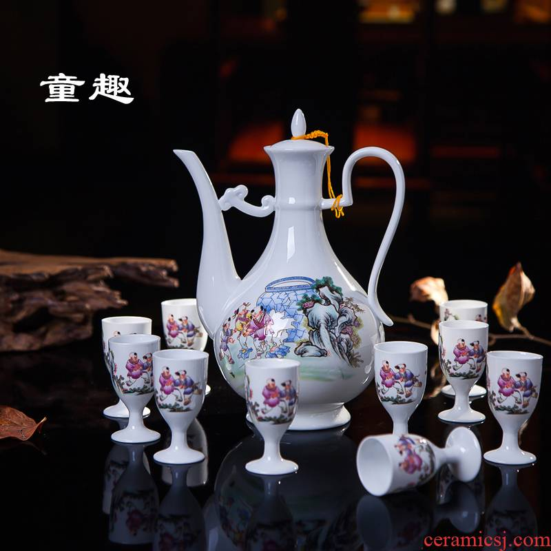 Jingdezhen ceramic wine wine suit liquor with antique hip flask glass suit a small handleless wine cup of wine