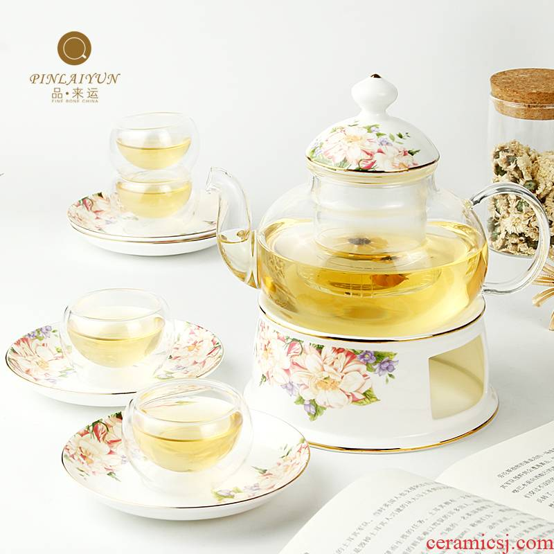 Thickening glass tea set suit creative products to transport 】 【 ipads porcelain teapot teacup heat - resisting filtering kung fu tea set