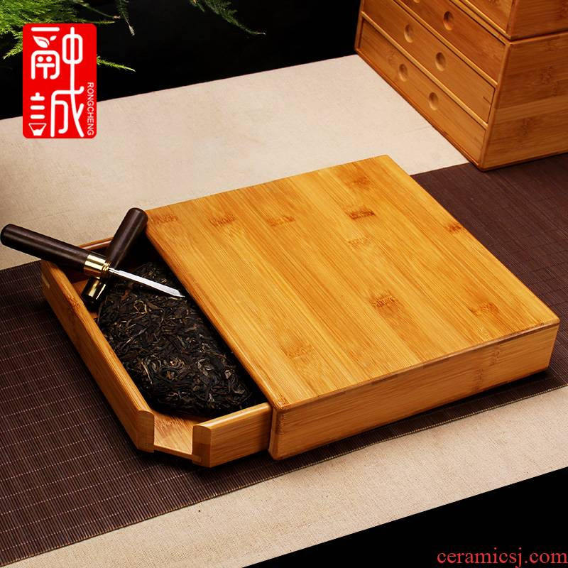 Puer tea box packing box general tea caddy fixings single bamboo tea tray to the receive ChaZhen tea cake contracted points