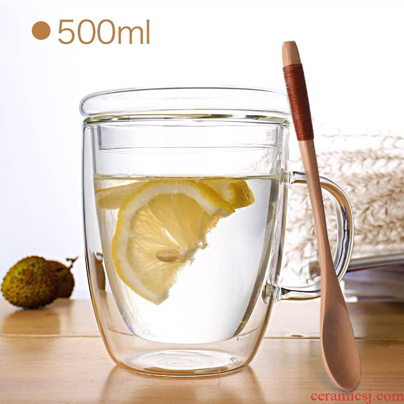 A Double transparent glass cup with cover spoon insulation creative home office have the coffee cup tea cup