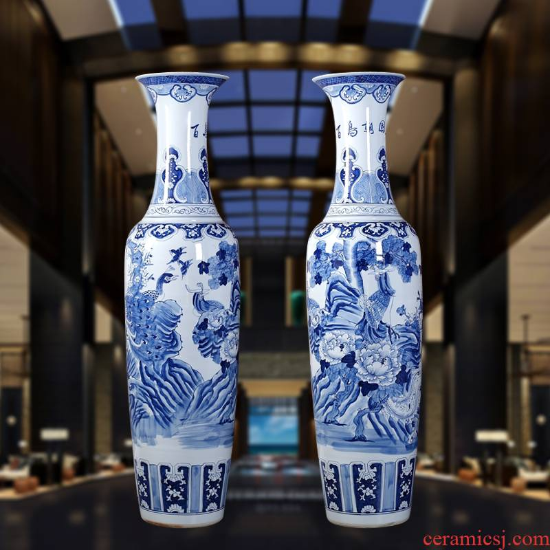 Jingdezhen blue and white landscape ceramic vase landing craft painting ceramic vase sitting room adornment is placed