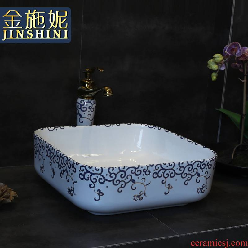 Gold cellnique square basin archaize ceramic basin of Chinese style on the hand draw lavabo art lavatory basin