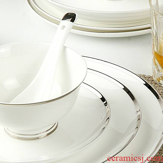 The dishes plate ipads porcelain ceramic product to transport 】 【 FanPan flat gold and silver plate