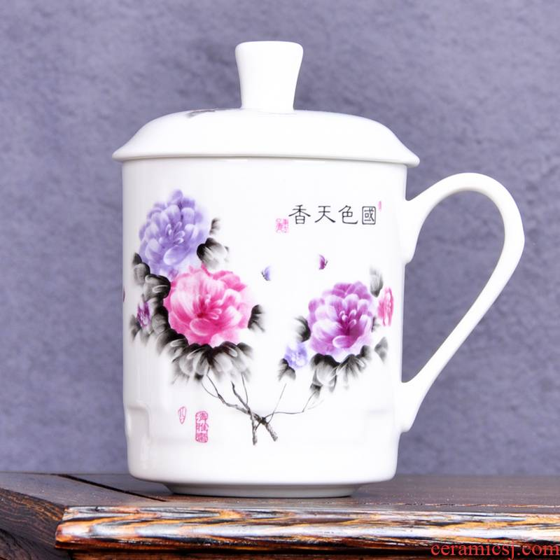 Jingdezhen ceramic cups with cover office meeting gift ipads China cup blue and white porcelain cup can be customized design and color