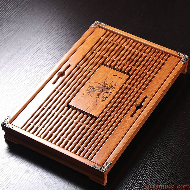 Solid wood tea tray was kung fu tea set drainage water mini household small dry the draw - out type tea table, making tea tray