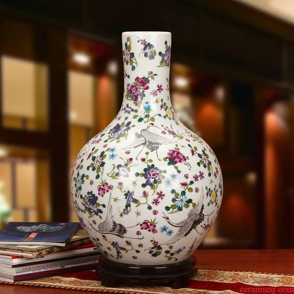 Jingdezhen ceramics powder enamel noctilucent pine crane, celestial large vases, modern Chinese style household crafts