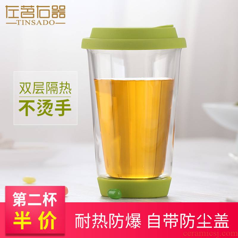 ZuoMing right is double the creative tea glass transparent heat insulation water cups with cover getting hot coffee cup