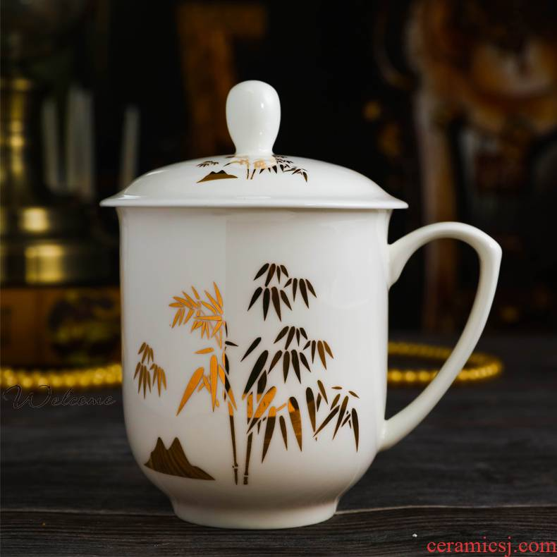 Jingdezhen ceramic cup with cover cup working meeting of the golden flower ipads porcelain cup gift custom printed LOGO