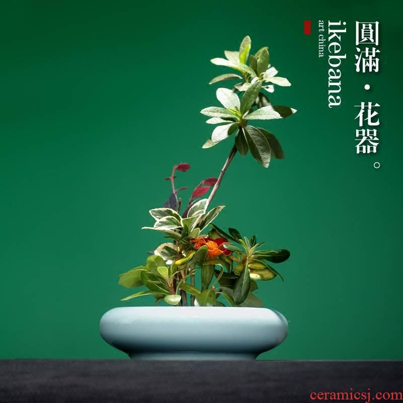 Zen mountain sword creative Japanese ikebana flower implement ceramic vases, flower art pottery flowerpot teahouse faceplate arranging flowers