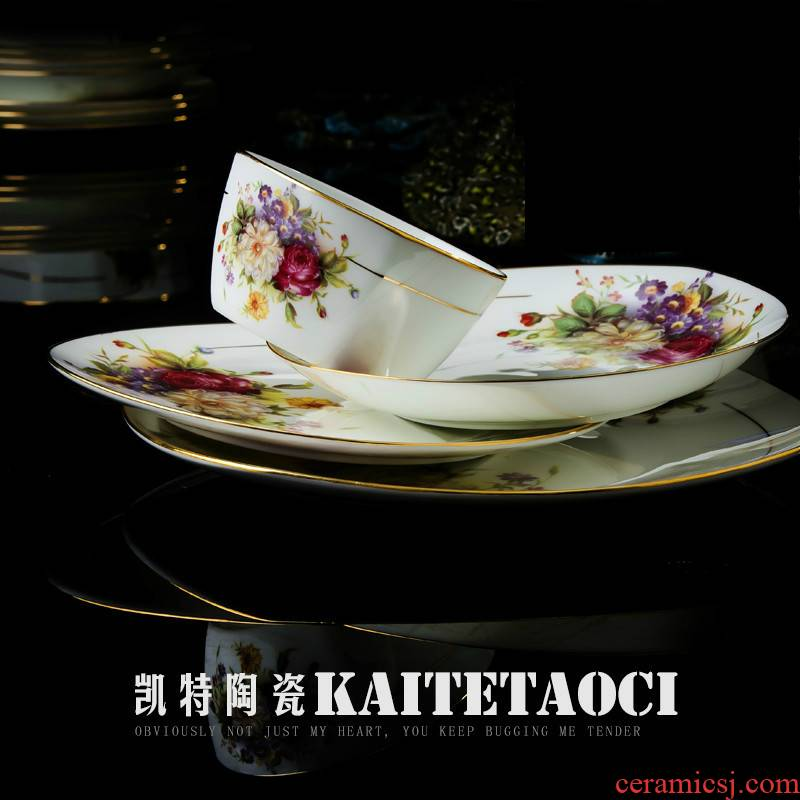 Jingdezhen ceramic dishes suit European up phnom penh household ipads porcelain tableware suit Chinese dishes chopsticks combination your job