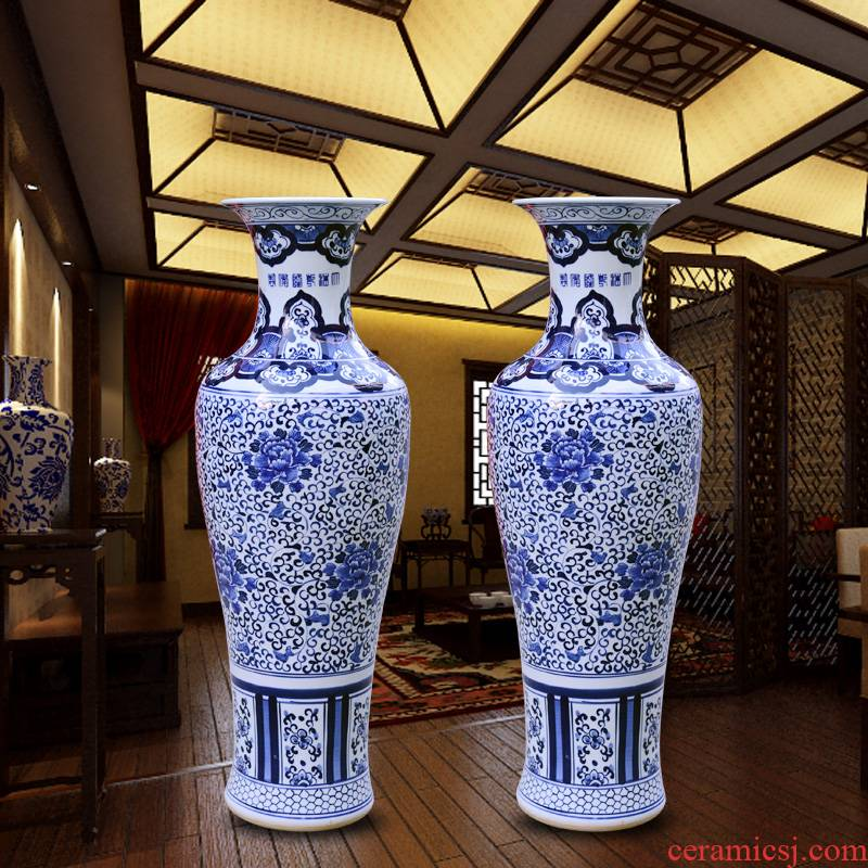 Jingdezhen high temperature hand - made ceramics sitting room of large blue and white porcelain vase decoration to the hotel lobby hall furnishing articles