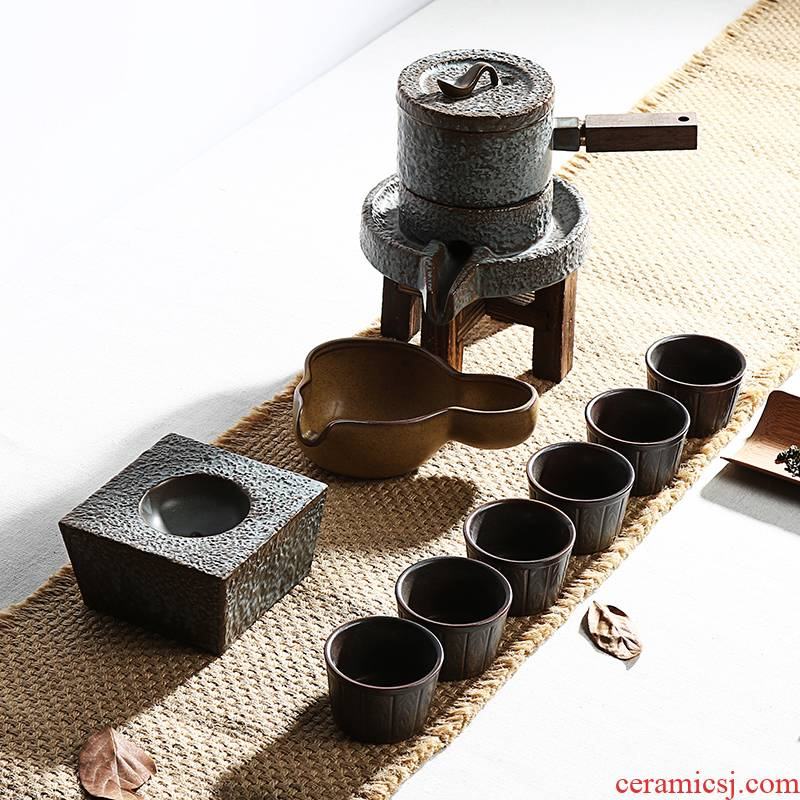 Ding heng creative coarse pottery fortunes of a complete set of tea set stone mill automatic restoring ancient ways is lazy kung fu tea set