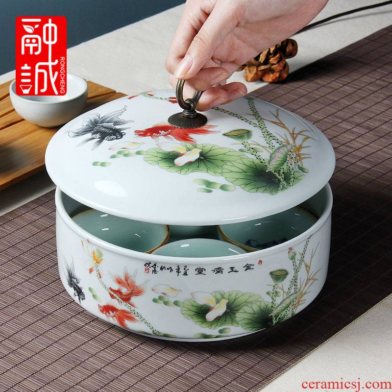 Melting honestly with cover ceramic kung fu tea tea tea wash tank accessories large boxes of tea caddy fixings writing brush washer porcelain tea to wash