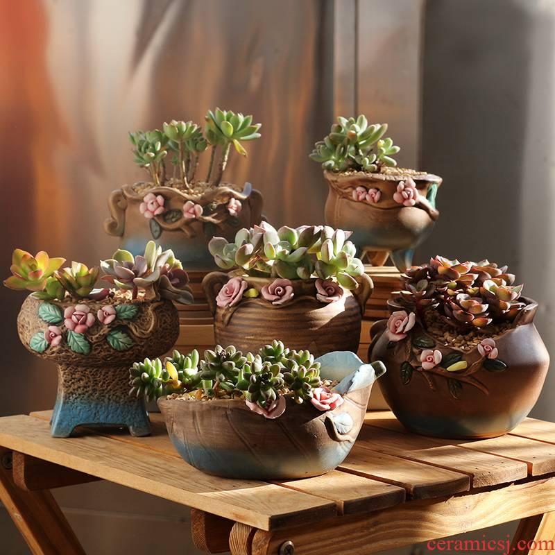 Platinum jade Korean creative hand - made fleshy flowerpot coarse pottery breathable fleshy green plant ceramic flower pot small basin of the old from running