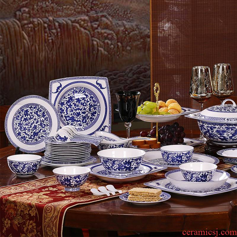 Red xin ceramic household of Chinese style dishes suit jingdezhen blue and white porcelain tableware portfolio ipads bowls plates gifts