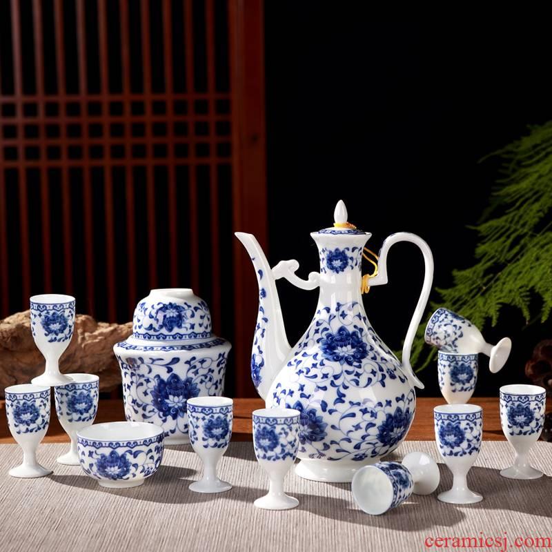 Jingdezhen ceramic wine suits for domestic Chinese rice wine liquor of a complete set of wine glass temperature hot wine pot liquor cup