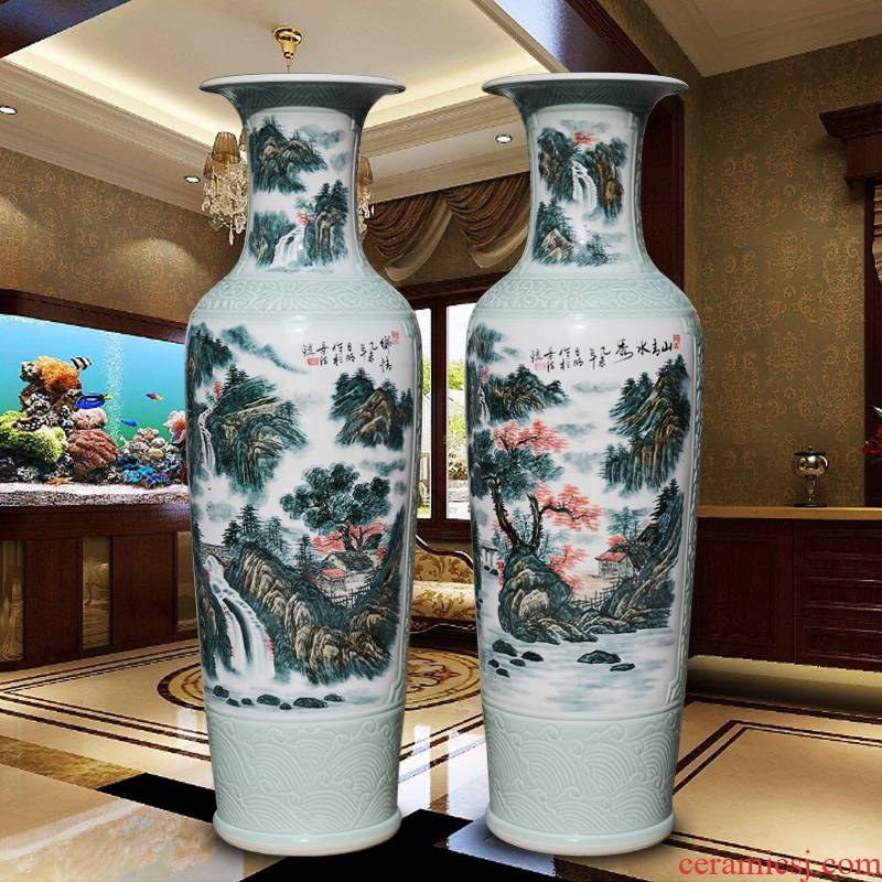Xiushui castle peak day hao jingdezhen hand - made ceramic vase of large sitting room hotel decoration furnishing articles