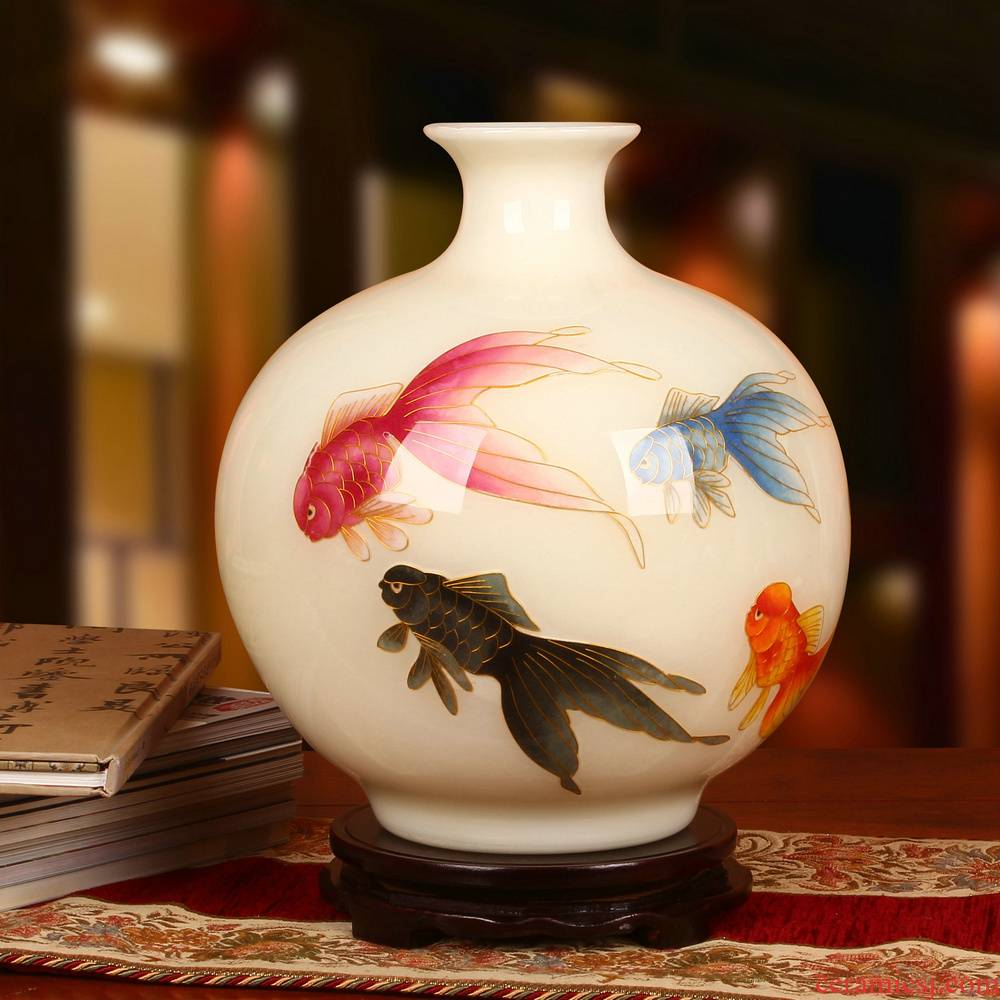 Jingdezhen ceramics gold straw high - grade goldfish figure white vase mesa of fashionable Chinese style household furnishing articles