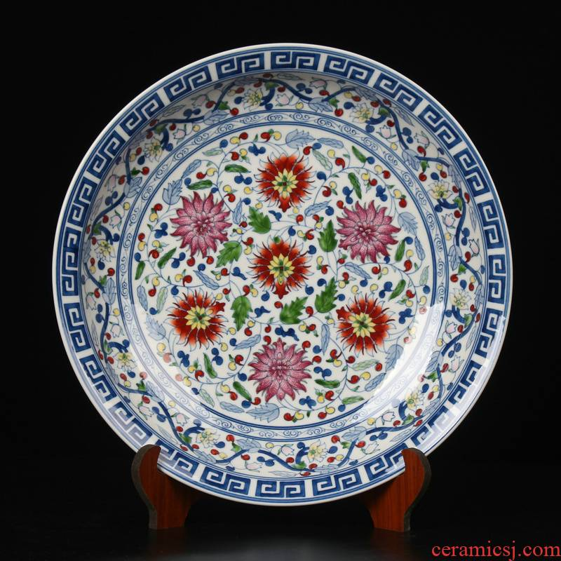 Manual drawing blue bucket color colorful ceramic plate of archaize of jingdezhen porcelain enamel hang dish mesa adornment furnishing articles