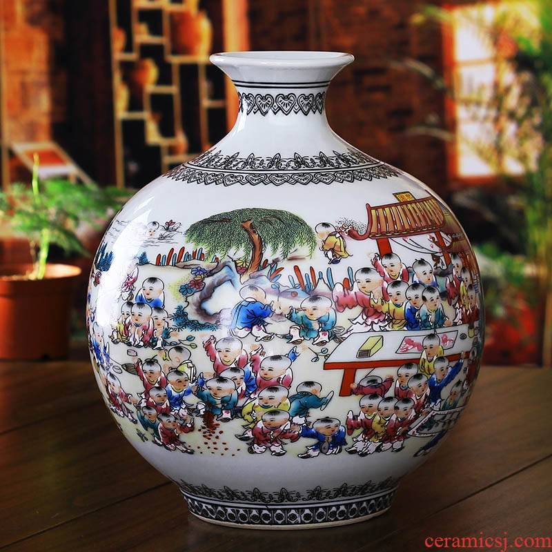 Jingdezhen ceramics powder enamel figure vase, modern household act the role ofing is tasted the ancient philosophers sitting room crafts are a wedding gift