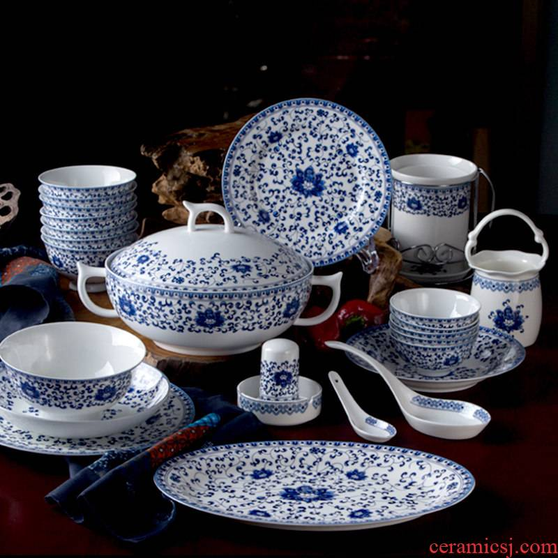 Chinese style dishes suit jingdezhen ceramic tableware suit home dishes combination microwave special porcelain bowl