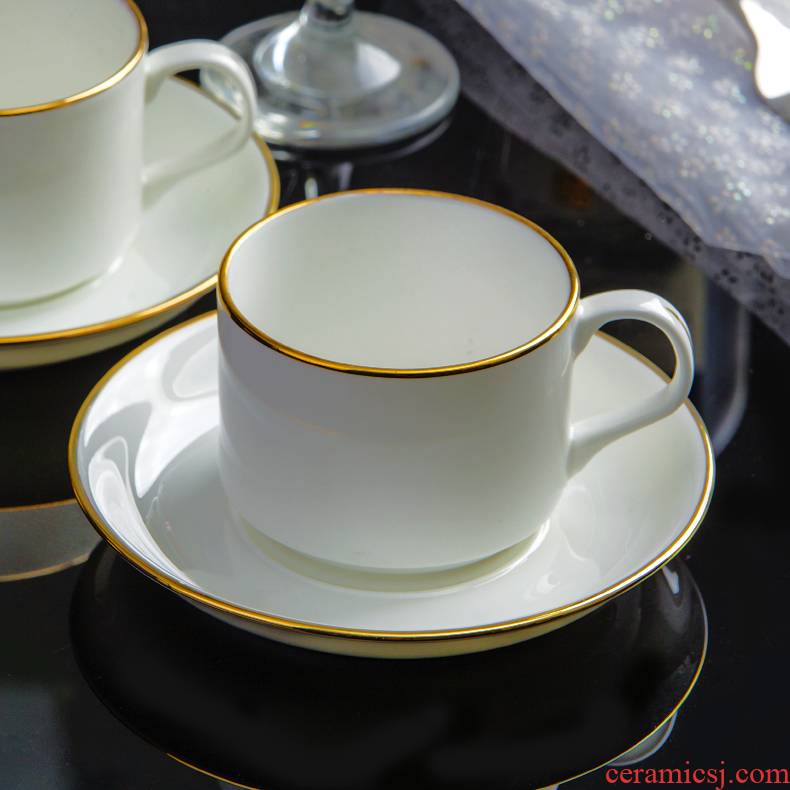 Jingdezhen ceramic European - style coffee cups and saucers suit office conference room contracted coffee cup up phnom penh customize LOGO