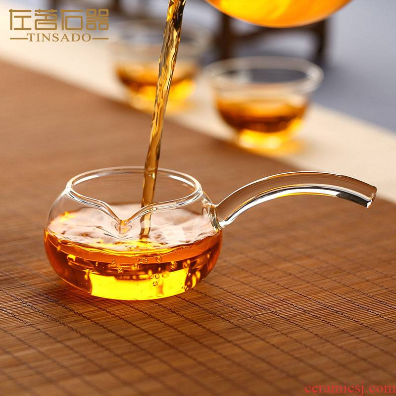 ZuoMing male right is heat - resistant glass cup with the single transparent narrow creative side the thickening points fair keller of tea