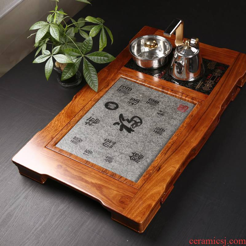 Hua limu sharply stone tea tray drainage type with induction cooker tea sea kung fu tea saucer kettle suit