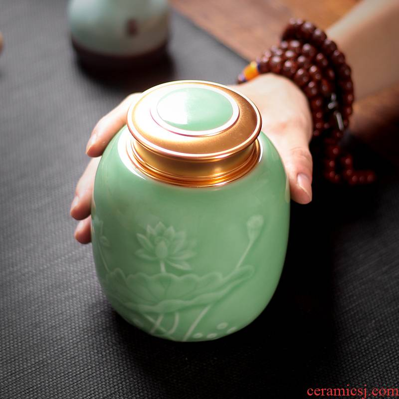 Tea pu 'er Tea as cans ceramic metal household longquan celadon seal tank large pot of pu' er Tea POTS