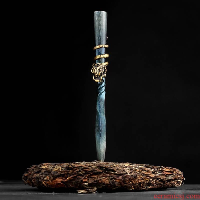Puer tea hundred steel knife manual forging longquan tea tool ChaZhen Damascus steel knife open tea accessories